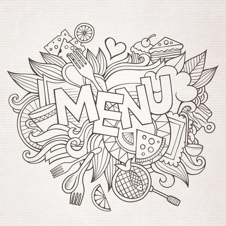 chef caricatura: Letras de la mano de men� y garabatos elementos y s�mbolos de fondo. Vector dibujado a mano Ilustraci�n incompleta
