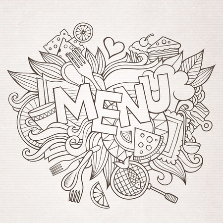 retro cartoon: Menu hand lettering and doodles elements and symbols background. Vector hand drawn sketchy illustration