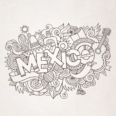types of cactus: Mexico country hand lettering and doodles elements and symbols background. Vector hand drawn sketchy illustration