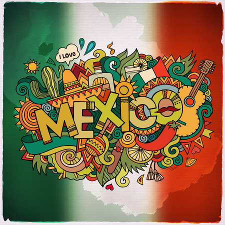 Mexico country hand lettering and doodles elements and symbols emblem. Vector blurred flag background