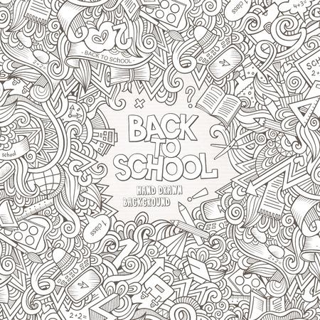 Cartoon vector doodles hand drawn school frame card design background Çizim