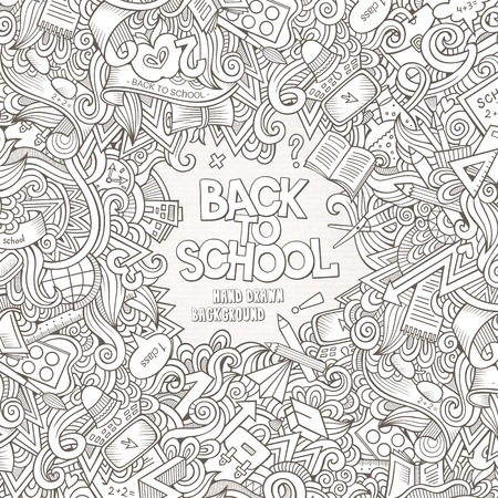 Cartoon vector doodles hand getrokken school kader card design achtergrond Stock Illustratie