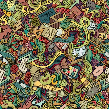 Cartoon vector doodles hand drawn school seamless pattern