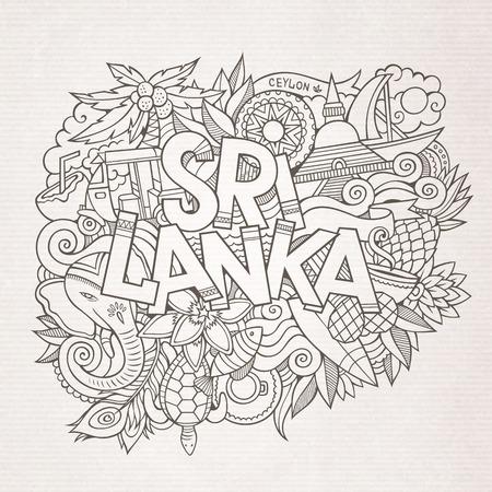スリランカ国手レタリングや落書きの要素と記号の背景。ベクターの手描きスケッチ図