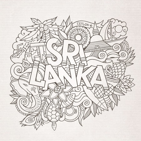 stupa: Sri Lanka country hand lettering and doodles elements and symbols background. Vector hand drawn sketchy illustration Illustration