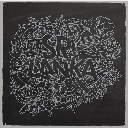 srilanka: Sri Lanka country hand lettering and doodles elements and symbols background. Vector hand drawn chalkboard illustration