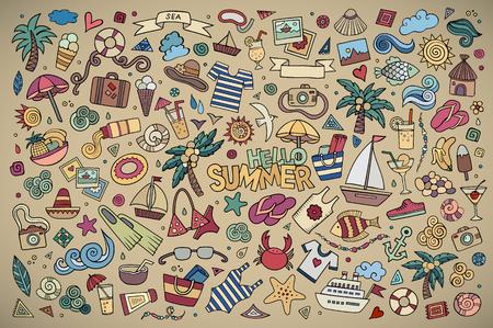 beach: Estate spiaggia disegnati a mano simboli vettoriali e oggetti