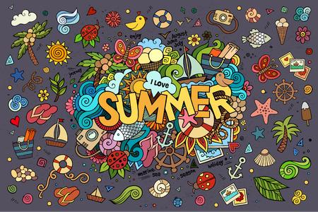 august: Summer hand lettering and doodles elements. Vector illustration Illustration