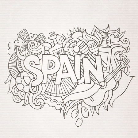sketchy illustration: Spain country hand lettering and doodles elements and symbols background. Vector hand drawn sketchy illustration