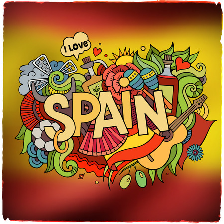 spanish bull: Spain country hand lettering and doodles elements and symbols emblem. Vector blurred flag background