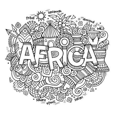 continent: Africa ethnic hand lettering and doodles elements and symbols background. Vector hand drawn sketchy illustration Illustration