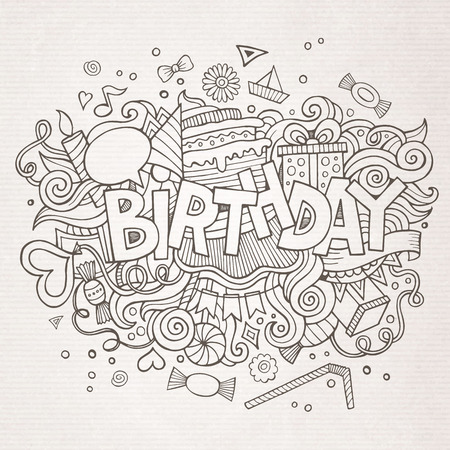 party cartoon: Birthday hand lettering and doodles elements background. Vector illustration