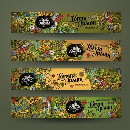 Vector banner sjablonen set met krabbels camping thema Stock Illustratie