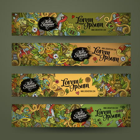 camp: Vector banner templates set with doodles camping theme