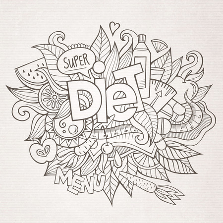 plate of food: Diet hand lettering and doodles elements and symbols background. Vector hand drawn sketchy illustration Illustration