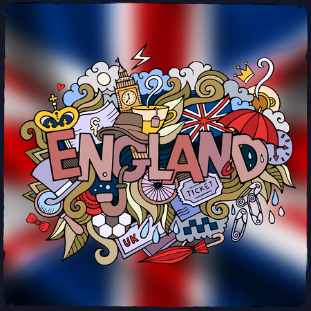 damp: England country hand lettering and doodles elements and symbols emblem. Vector blurred  flag background
