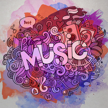 Music hand lettering and doodles elements and symbols emblem. Vector watercolor stains background