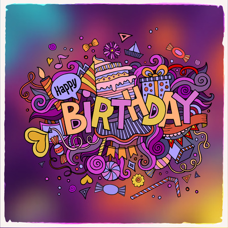 cartoon bouquet: Birthday hand lettering and doodles elements background. Vector illustration