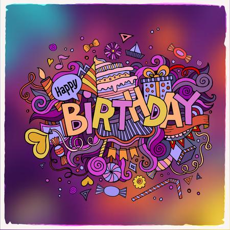 Verjaardag hand belettering en doodles elementen achtergrond. Vector illustratie Stock Illustratie