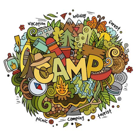 여름 캠프 핸드 레터링과 낙서 요소 및 기호 배경입니다. 벡터 손 스케치 그림을 그려