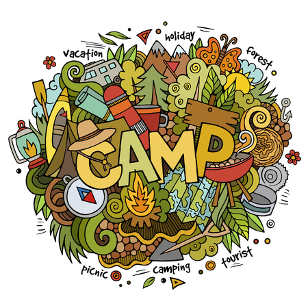 travel guide: Summer camp hand lettering and doodles elements and symbols background. Vector hand drawn sketchy illustration