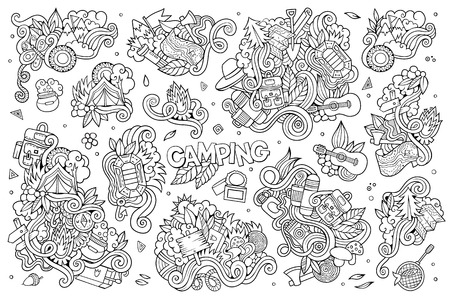 Camping nature hand drawn vector symbols and objects Illustration