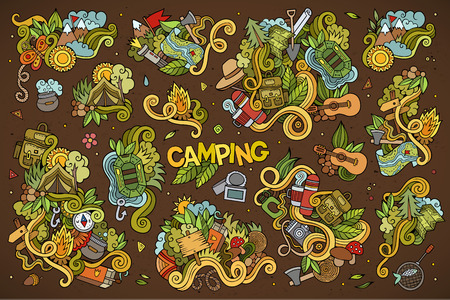 outdoor fire: Camping doodles nature hand drawn vector symbols and objects