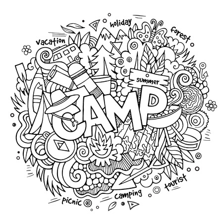 word cloud: Summer camp hand lettering and doodles elements and symbols background. Vector hand drawn sketchy illustration
