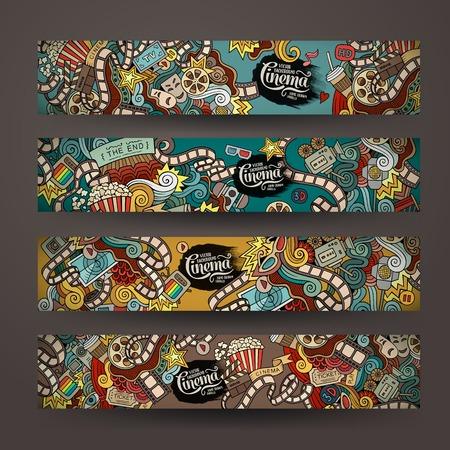 palomitas: Doodles vector de películas de cine plantillas de banner de diseño establecidos