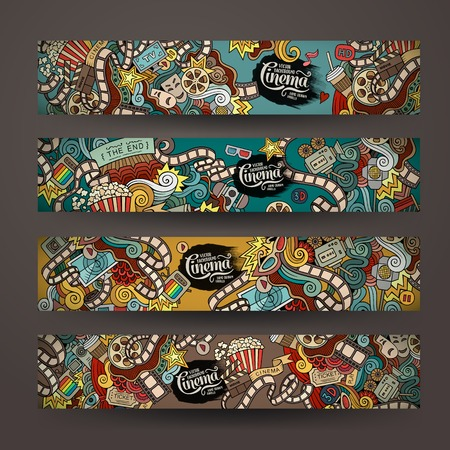 business banner: Vector doodles cinema movie design banner templates set