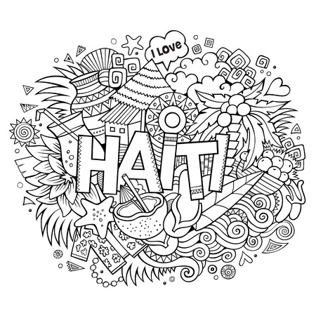 an island tradition: Haiti hand lettering and doodles elements and symbols background. Vector hand drawn sketchy illustration Illustration