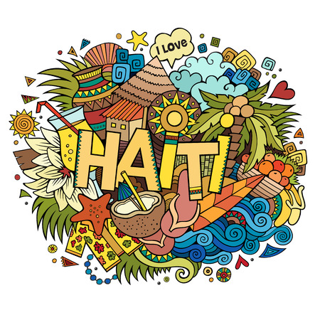 hand illustration: Haiti hand lettering and doodles elements and symbols background. Vector hand drawn sketchy illustration Illustration