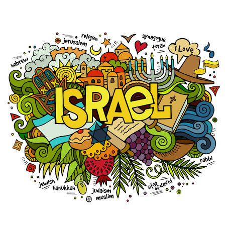 rabbi: Israel hand lettering and doodles elements and symbols background. Vector hand drawn illustration