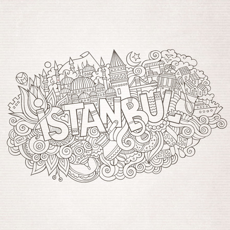 turkey istanbul: Istanbul city hand lettering and doodles elements and symbols background. Vector hand drawn sketchy illustration