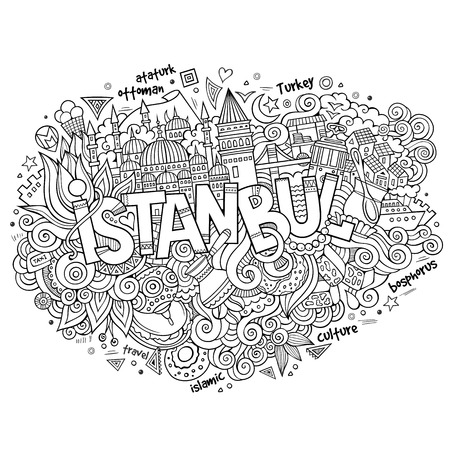 Istanbul city hand lettering and doodles elements and symbols background. Vector hand drawn sketchy illustration