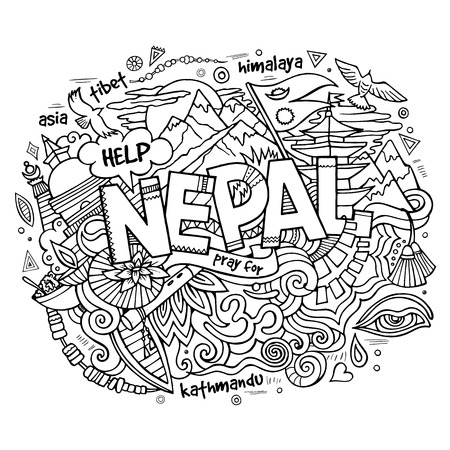 buddhist: Nepal country hand lettering and doodles elements and symbols background. Vector hand drawn sketchy illustration