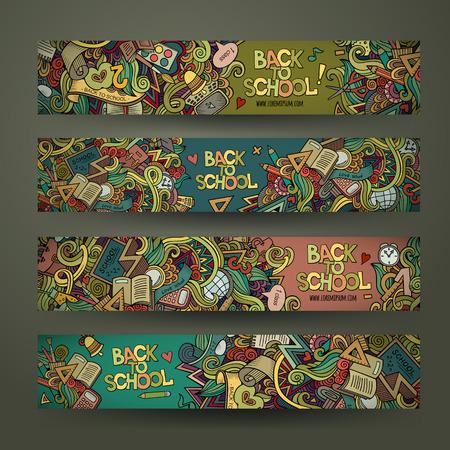 campamento: Escuela garabatos dibujados conjunto de plantillas de diseño de banners mano del vector Vectores