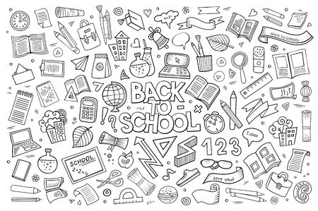 School and education doodles hand drawn vector sketch symbols and objects