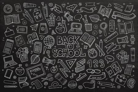 Scuola e istruzione scarabocchi disegnati a mano i simboli e gli oggetti vettore lavagna