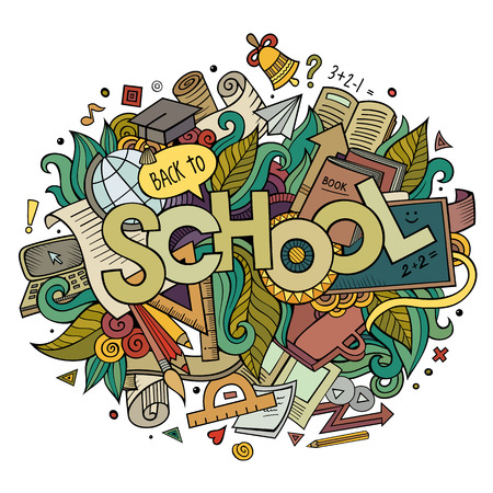 sketchy illustration: School hand lettering and doodles elements and symbols background. Vector hand drawn sketchy illustration