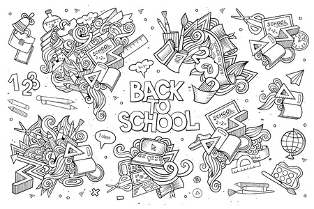laptop vector: School and education doodles hand drawn vector sketch symbols and objects