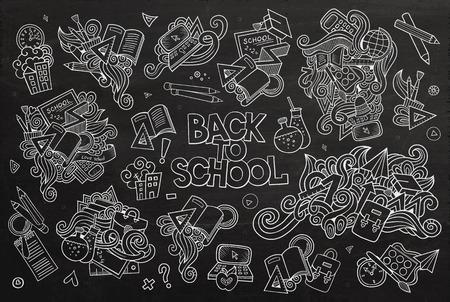 utiles escolares: Escuela y educaci�n garabatos dibujados a mano de s�mbolos y objetos vector pizarra