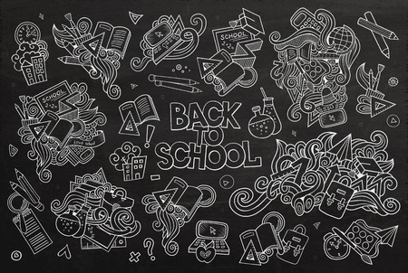 School and education doodles hand drawn vector chalkboard symbols and objects Illustration