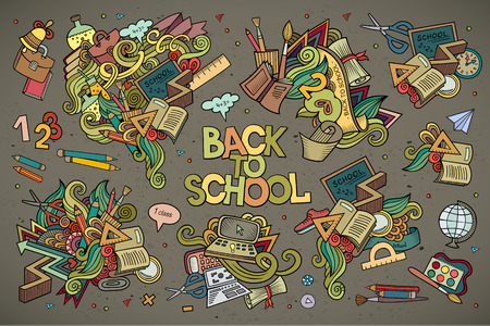 cartoon globe: School and education doodles hand drawn vector symbols and objects Illustration