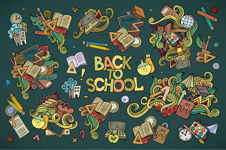 school books: School and education doodles hand drawn vector symbols and objects Illustration