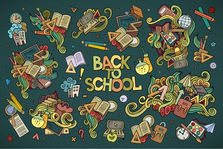 scuola: Scuola e istruzione doodles disegnati a mano simboli vettoriali e oggetti