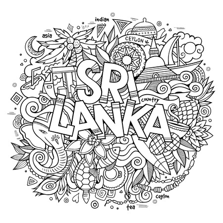 Sri Lanka hand lettering and doodles elements and symbols background. Vector hand drawn sketchy illustration Vettoriali