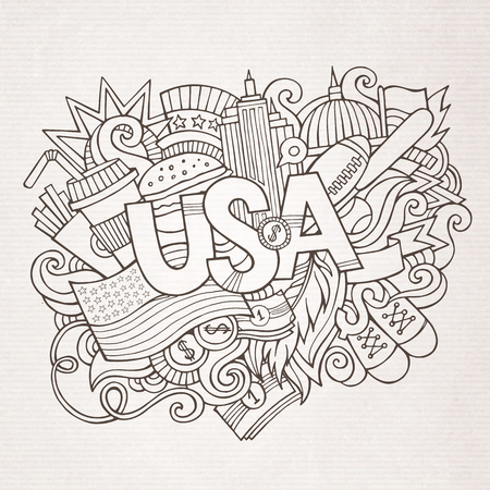 sketchy illustration: USA hand lettering and doodles elements and symbols background. Vector hand drawn sketchy illustration