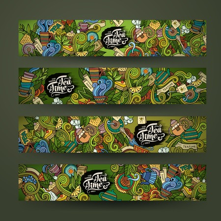 Vector doodles tea time design banner templates set Иллюстрация