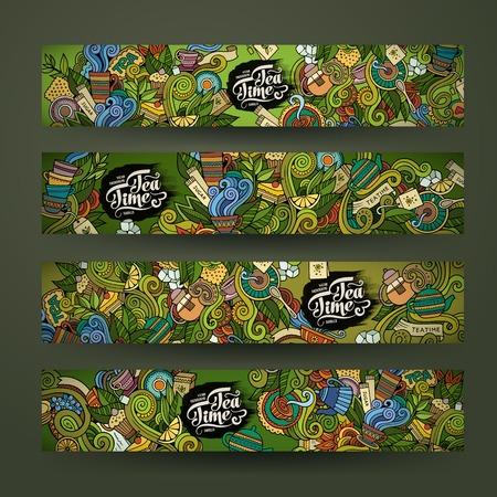 Vector doodles theetijd ontwerp banner sjablonen set